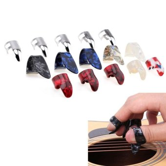 15pcs/set Stretchy Celluloid & Steel Nail Plectrums GuitarThumb Finger Picks for Guitar Lovers -