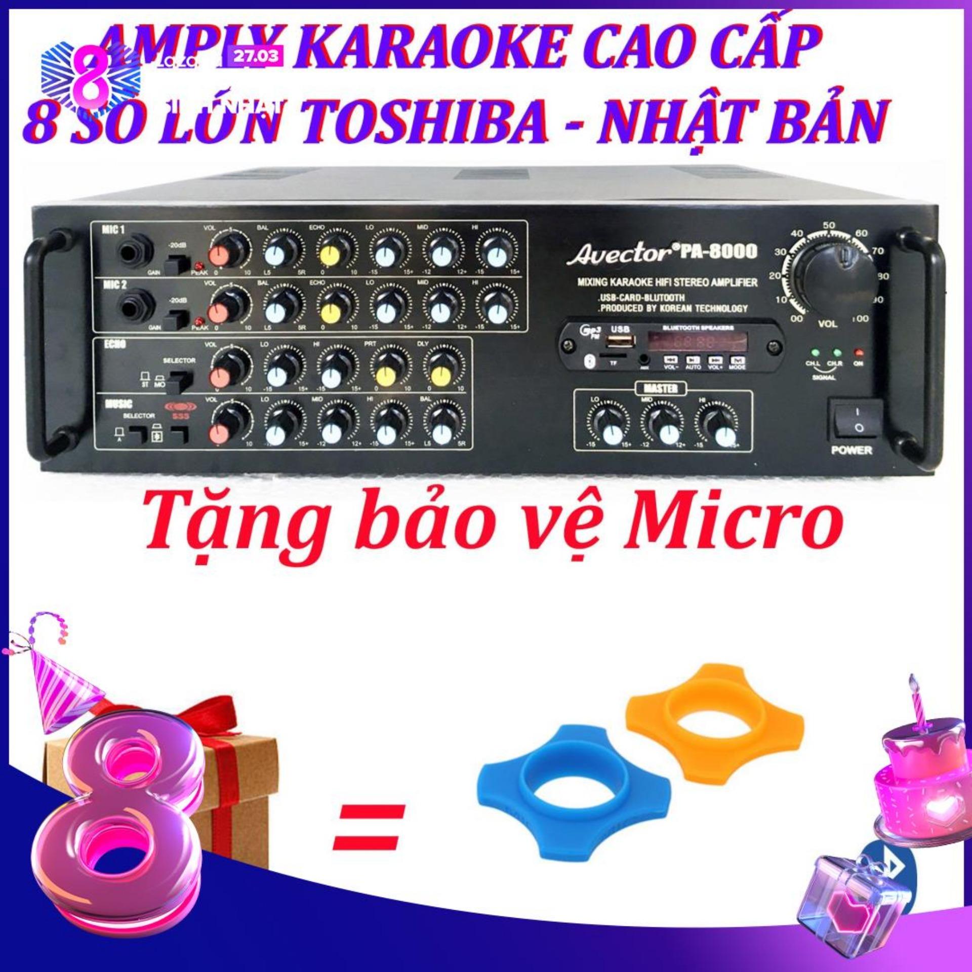 Amply karaoke ampli karaoke amply bluetooth nghe nhạc amply hat karaoke AVECTOR 8000 tặng 2 bảo vệ micro