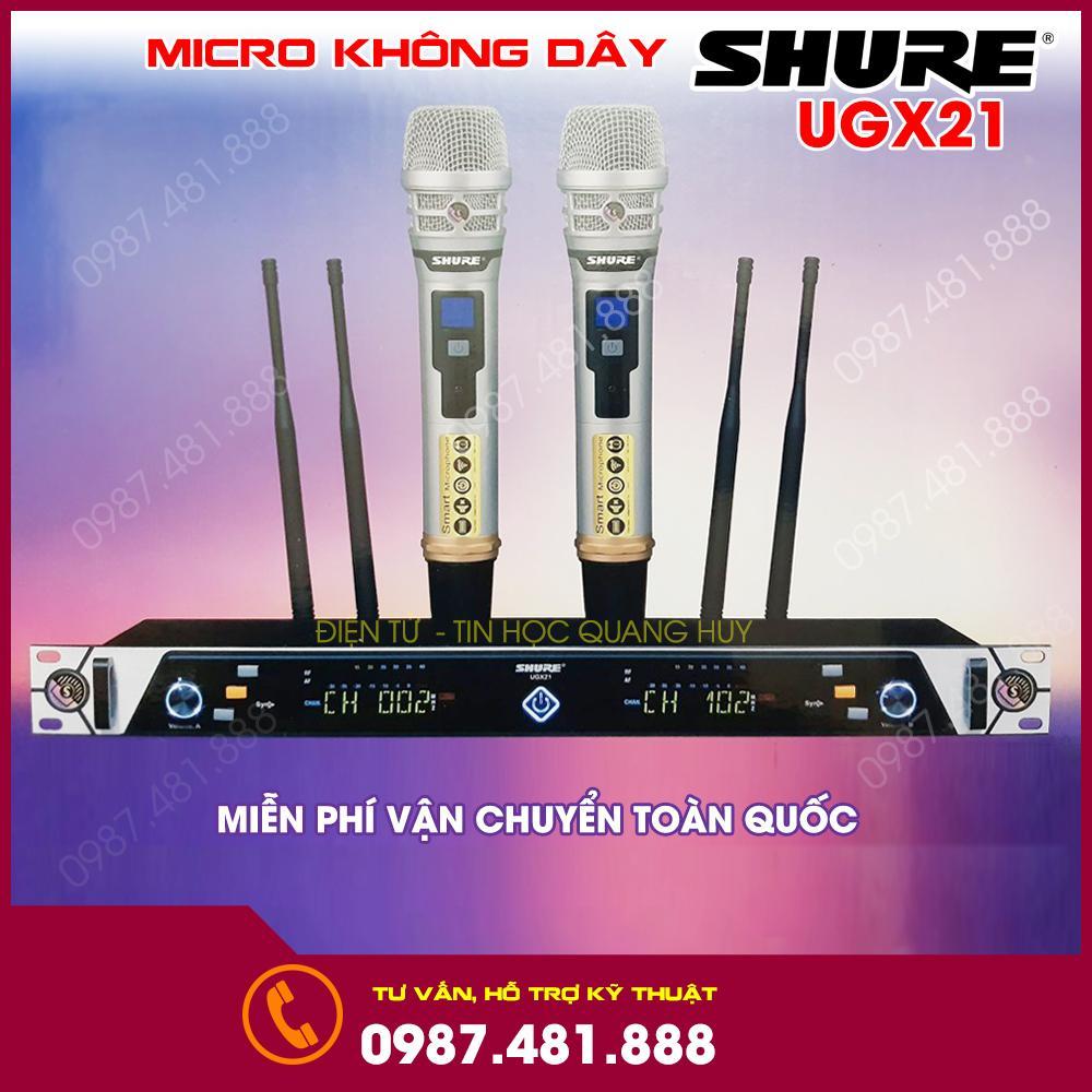 Micro không dây Shure UGX21 model mới nhất năm 2020 4 râu thu sóng cực khỏe hát cực nhẹ