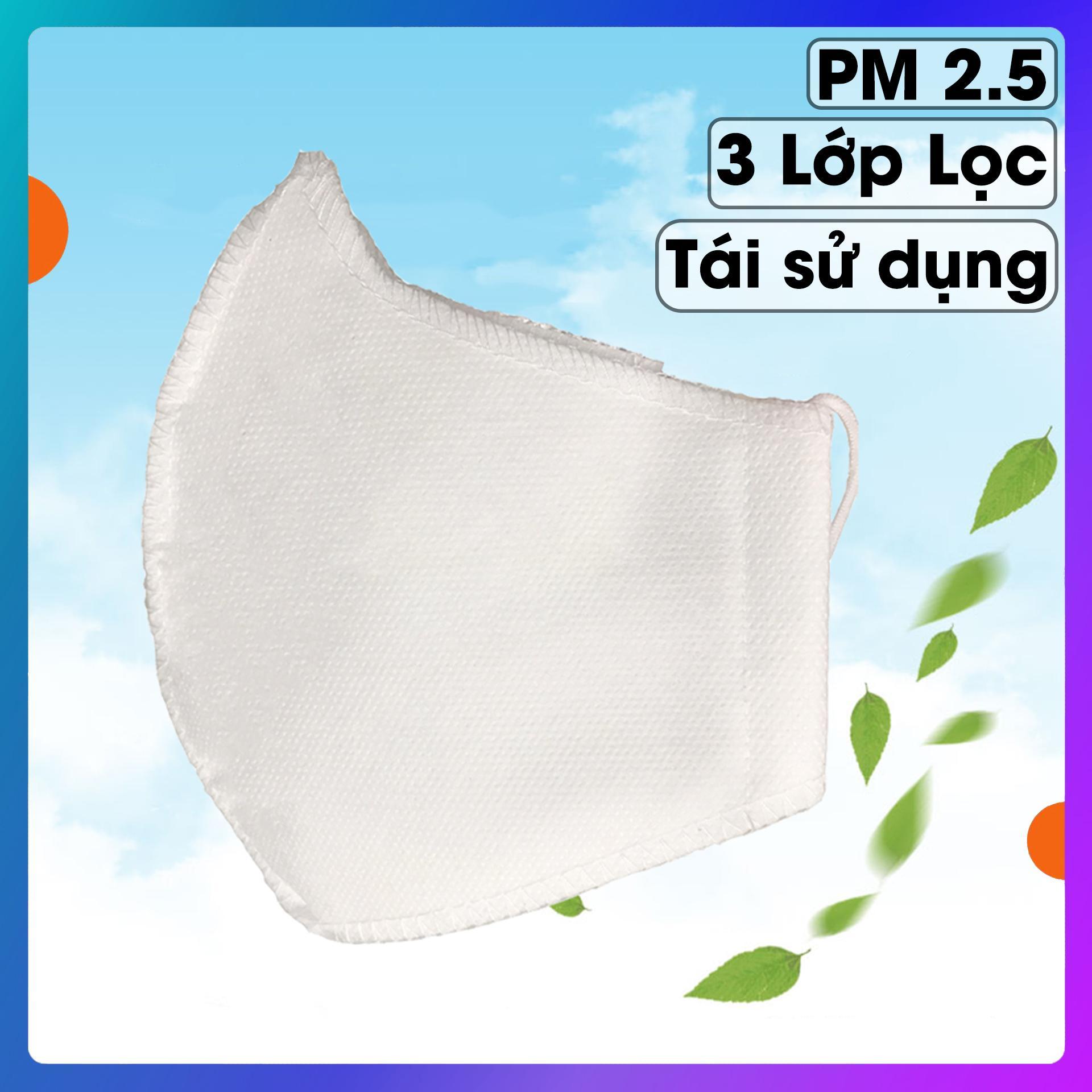 Khẩu trang chống bụi mịn 3 lớp tiêu chuẩn PM2.5 kháng khuẩn. Chất liệu màng lọc vi khuẩn tăng cường và sợi dệt cao cấp (1 CHIẾC)