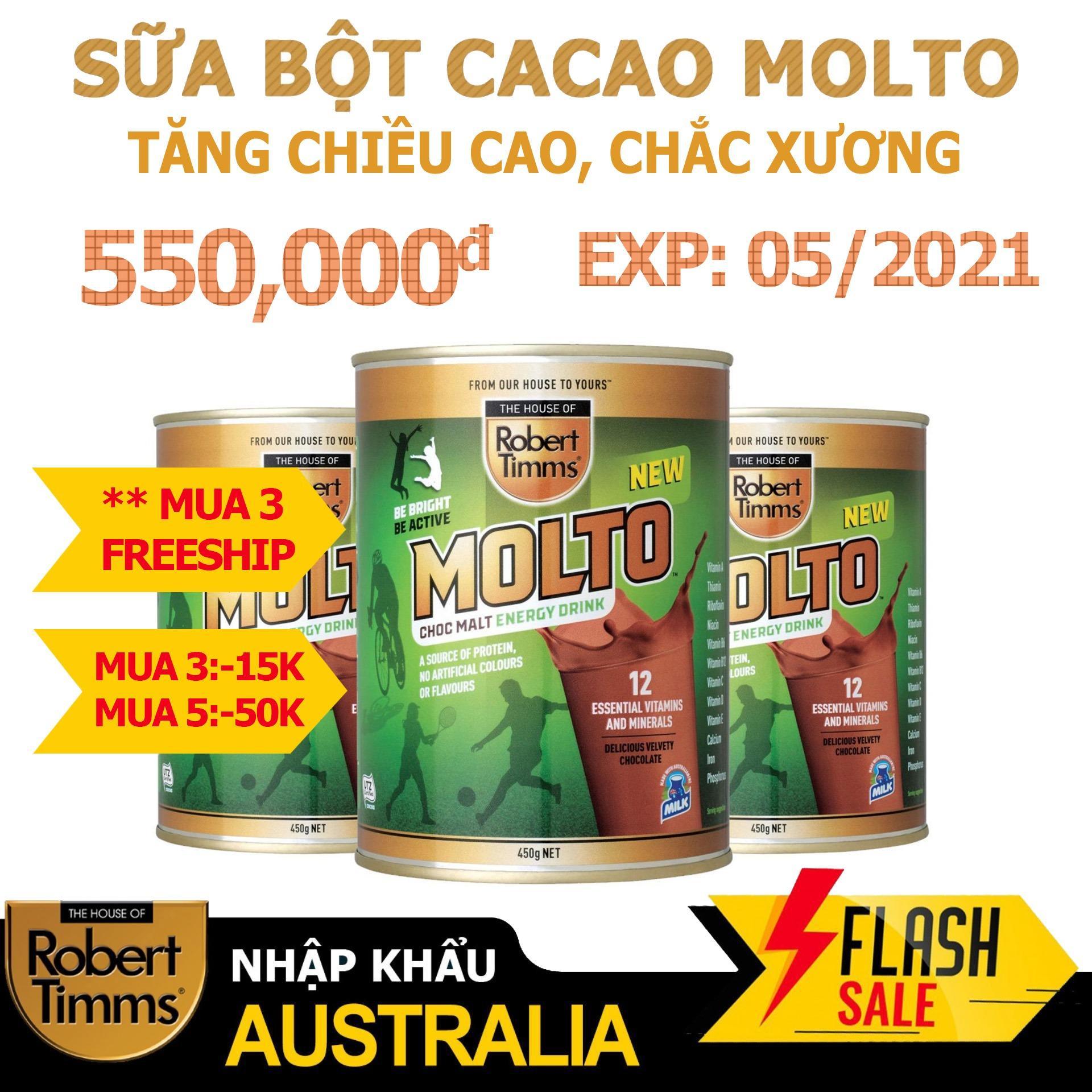 Sữa bột Canxi ca cao Robert Timms Molto Australia 450g giúp tăng trưởng chiều cao bổ sung Canxi