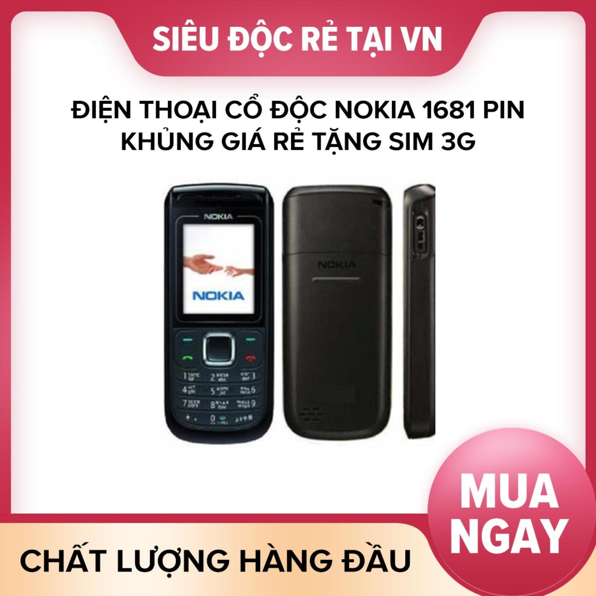 Điện thoại cổ độc Nokia 1681 pin khủng giá rẻ tặng sim 3g lên mạng