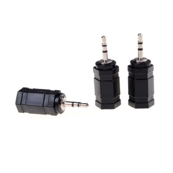 3pcs Adapter Plug Black 2.5mm Male to 3.5mm Female Audio Stereoheadphones - intl