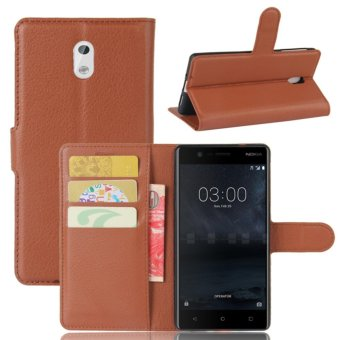 Leather Flip Cover Protective Case For N okia 3 (Brown) - intl