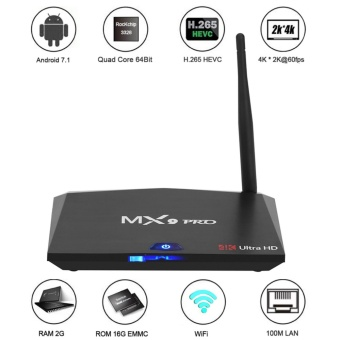 TV Box MX9 PRO RK3328 Android 7.1 Bluetooth 4.0 - RAM 2G/16G Ultra HD & 4K