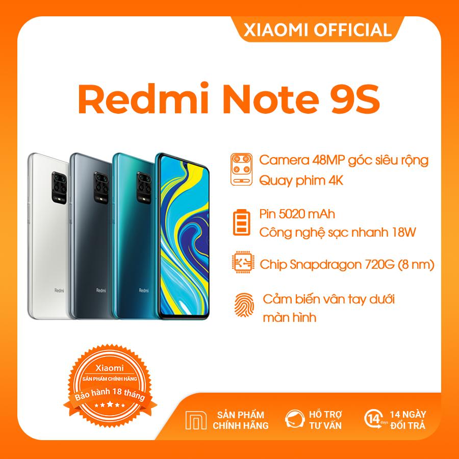 VOUCHER 500K - [XIAOMI OFFICIAL] Điện thoại Xiaomi Redmi Note 9S 6GB/128GB - Snapdragon 8 nhân 720G Màn hình 6.67 inches Pin siêu khủng 5020mAh sạc nhanh 18W 4 Camera 48MP/8MP/5MP/2MP góc siêu rộng - BH CHÍNH HÃNG 18 tháng - PRE-ORDER