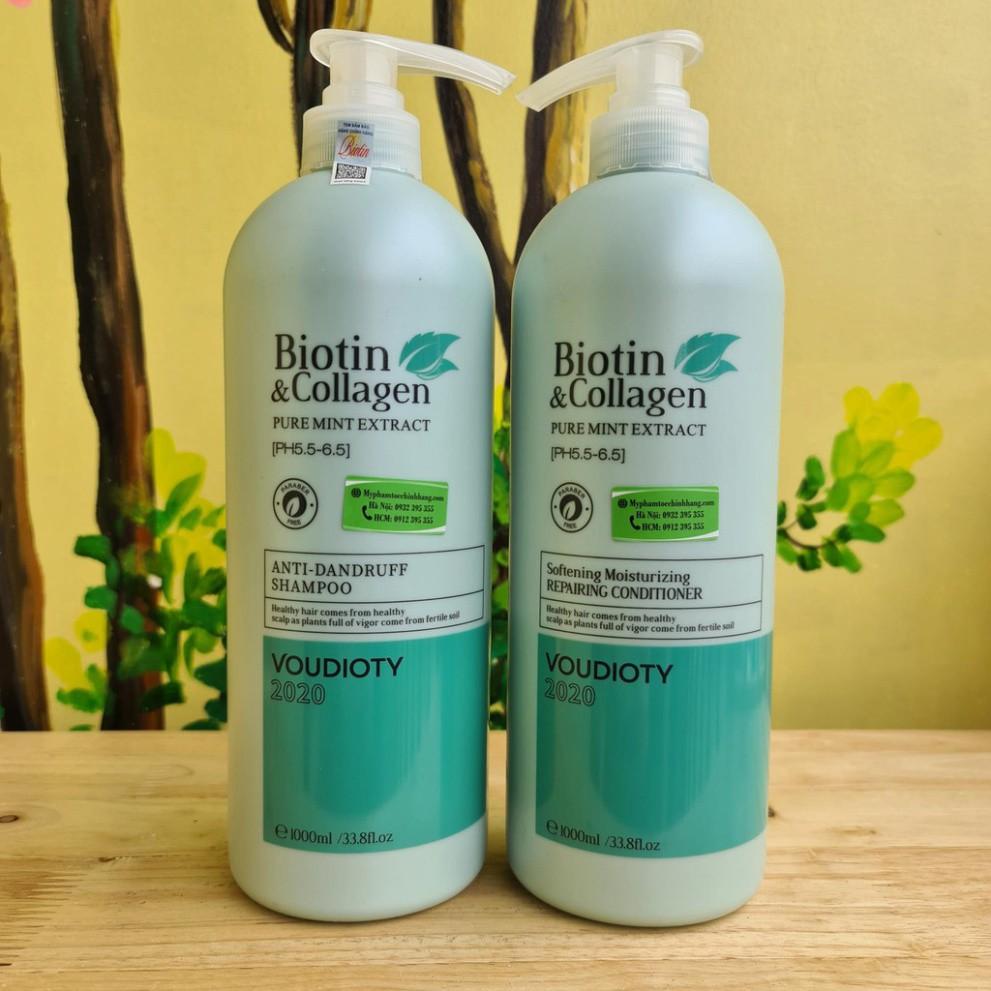 [Ngăn ngừa gàu] Cặp Dầu Gội Xả Biotin Collagen Xanh Dương 1000mlx2| Biotin xanh dương
