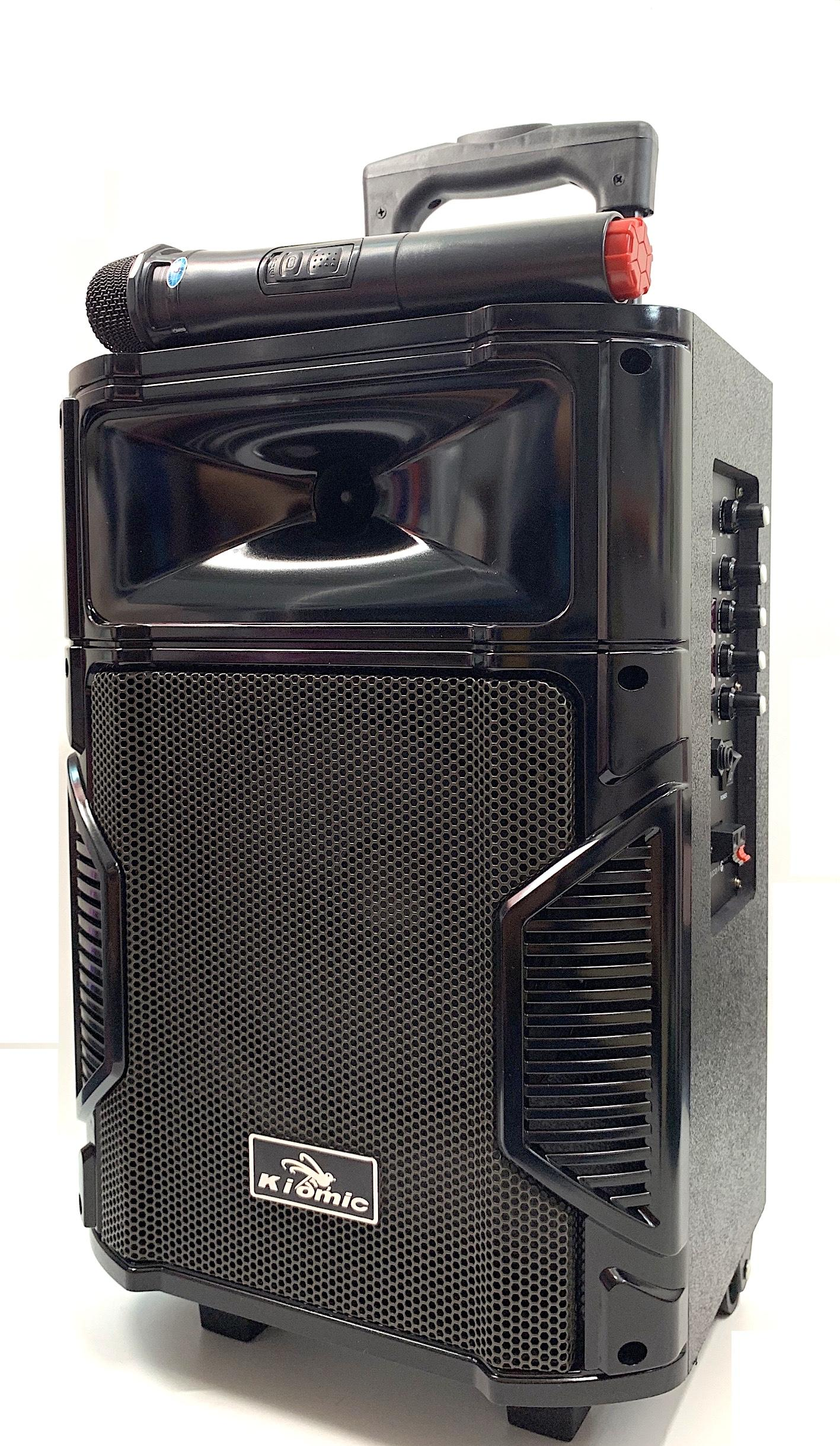 Loa Karaoke Bluetooth Di Động Vali Kéo Kiomic K108 Thùng Gỗ (Tặng Kèm 1 Micro Không Dây Hát Cực Hay)