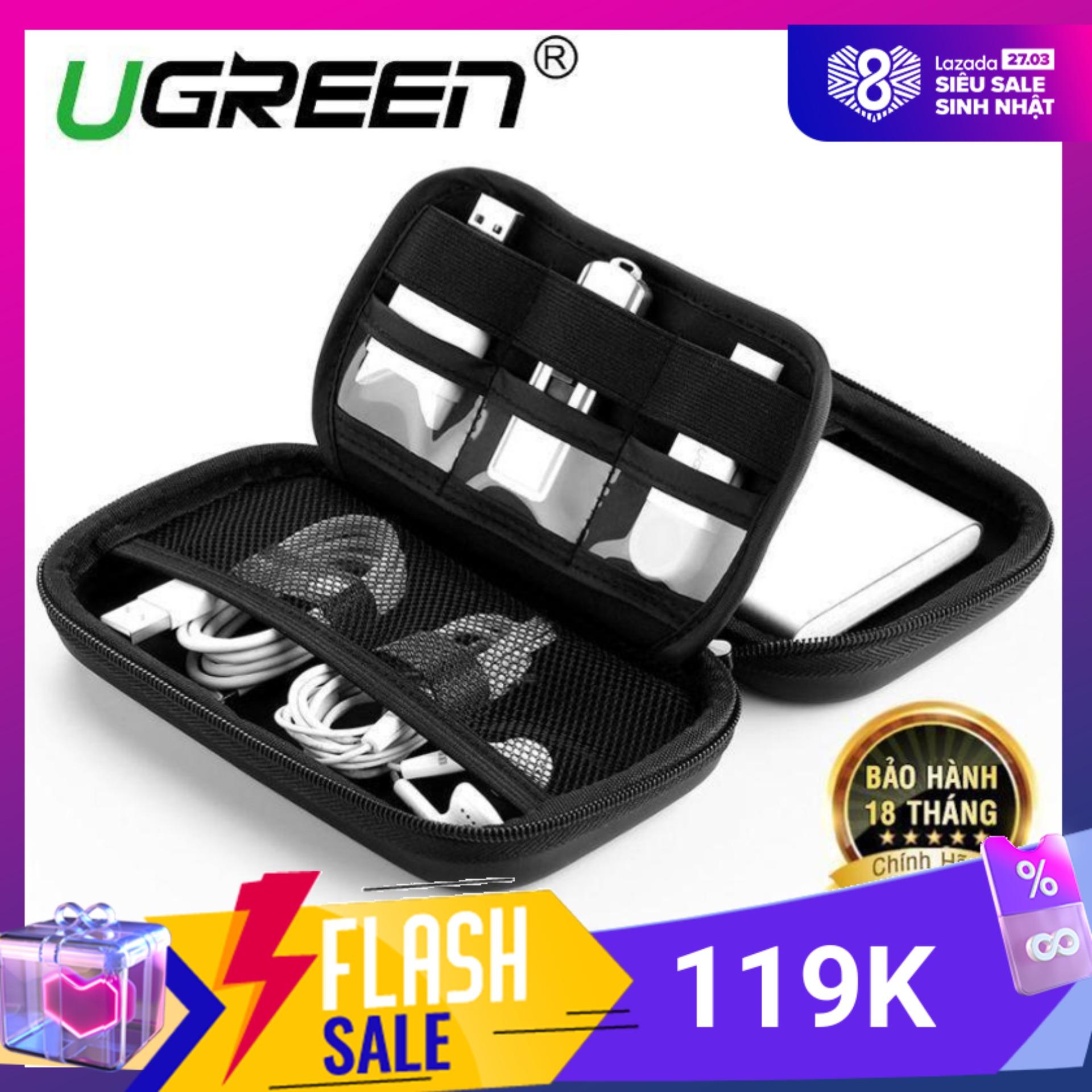 Hộp đựng phụ kiện tai nghe thẻ nhớ cáp USB ổ cứng pin dự phòng củ sạc điện thoại đồng hồ thông minh ... chống sốc chống nước (kích thước 18x10.3x5.5cm) UGREEN LP128 50274 - Hãng phân phối chính thức
