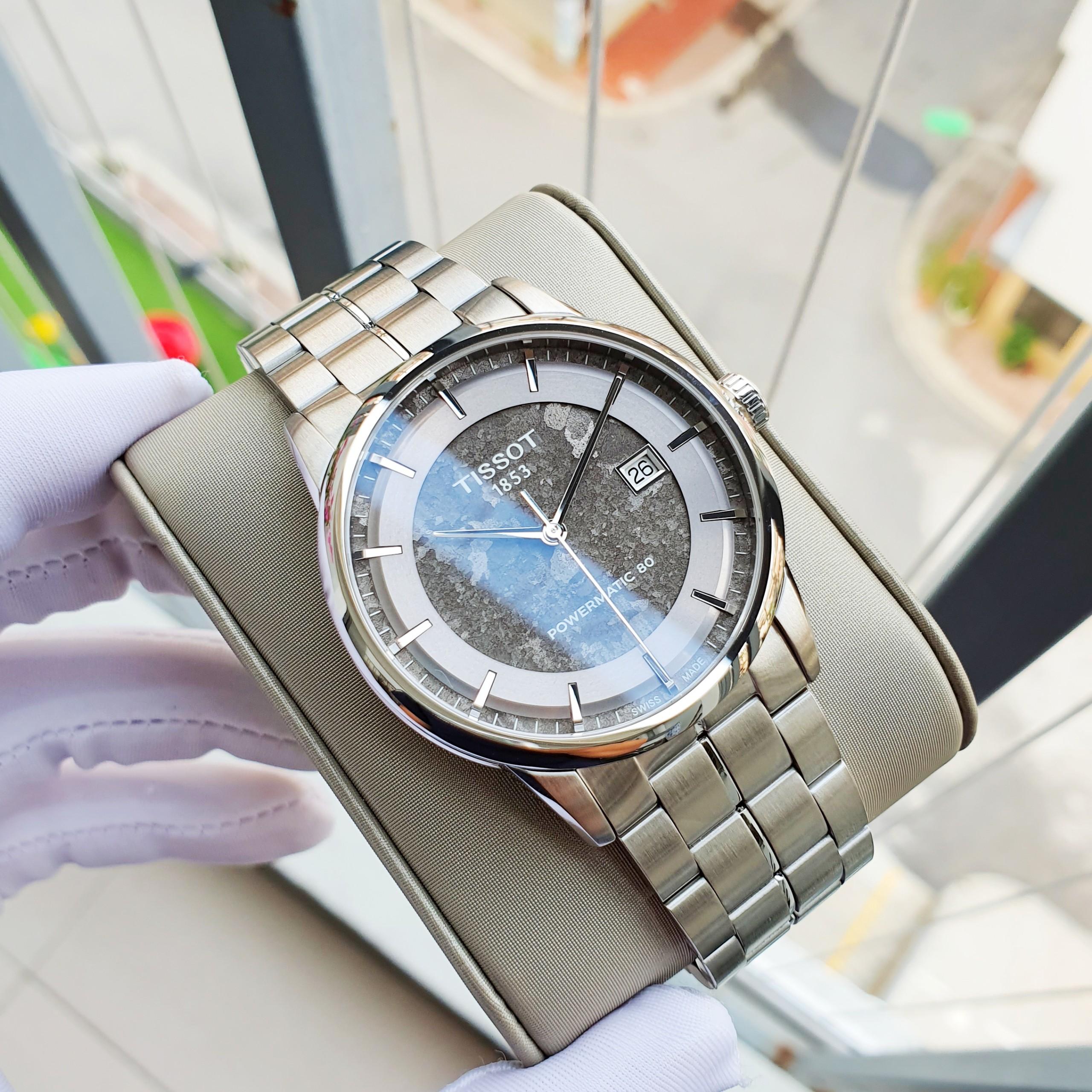 Đồng hồ Nam Tissot 1853 Luxury Powermatic 80 Anthracite T086.407.11.061.10 Mặt xámtrắngLịch ngày-Máy cơ tự động Automatic-Dây kim loại thép không gỉ cao cấp-Size 41mm