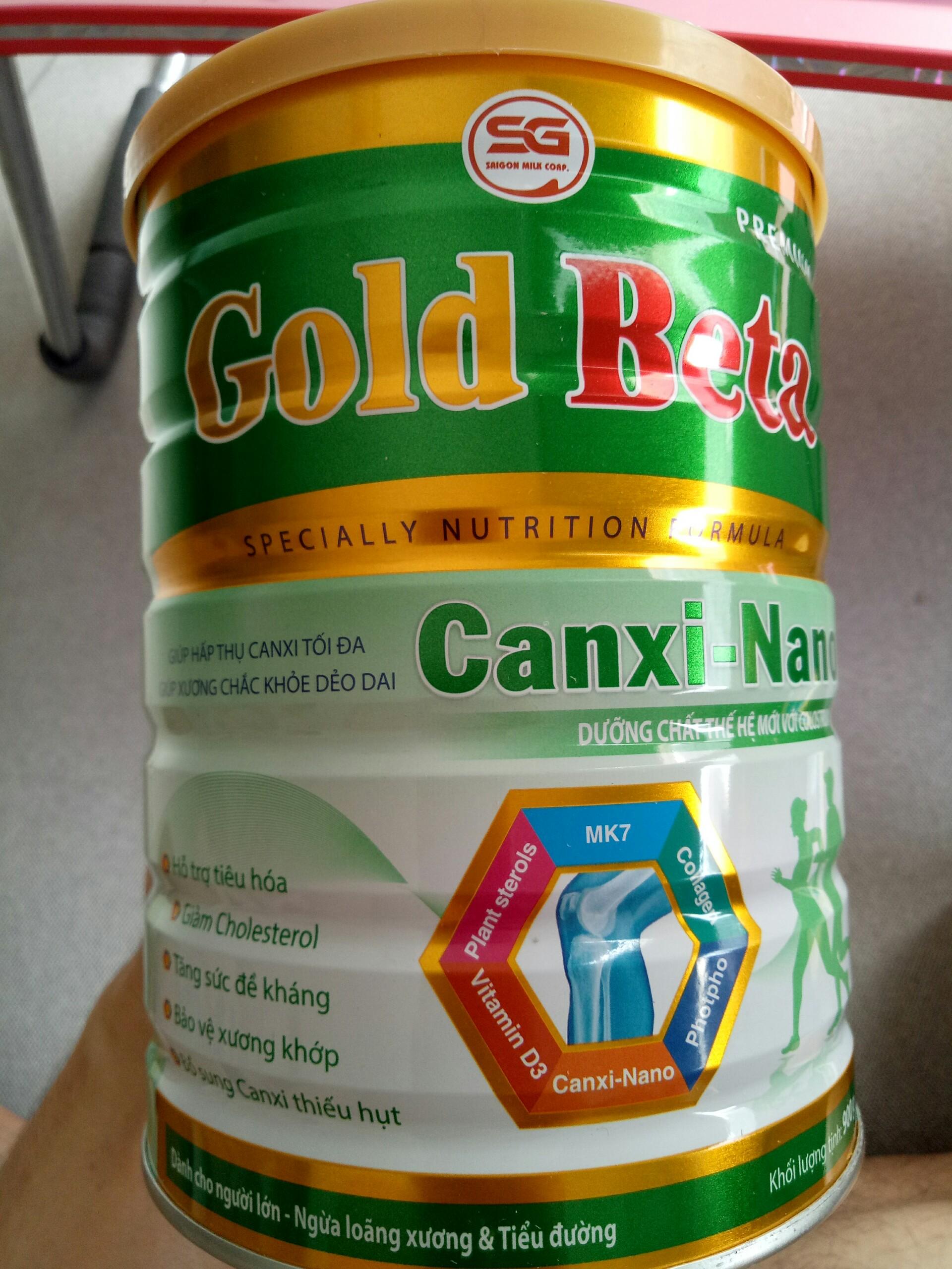 Sữa canxi nano cho người trung niên và cao tuổi Gold Beta Canxi Nano 900g