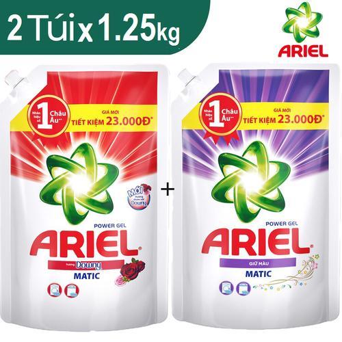 Combo 2 túi Ariel gồm Ariel Giữ màu 1.25kg và Ariel Downy 1.25kg
