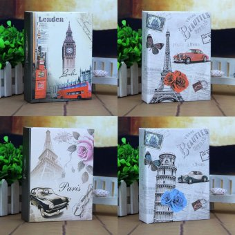 4pcs Photo Album 100 Photos Storage Case Family Wedding Memory Picture Film Book Leaning Tower+Belfry+Classic Car+Eiffel Tower - intl