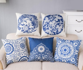 5PCS Chinese Style Porcelain Seat Cushion Pillowcase Cotton Linen Throw Pillow Cover Household Decorative - intl