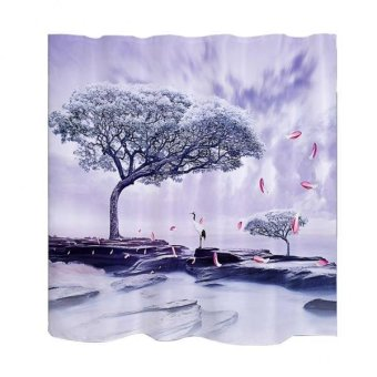 BolehDeals Fabric Water-resistant Bath 3D Shower Curtain Set with12 Hooks Fairy Tree - intl