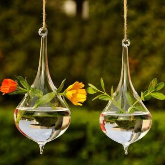 Clear Water Drop Shape Glass Hanging Vase Bottle Pot Home GardenDecor - intl