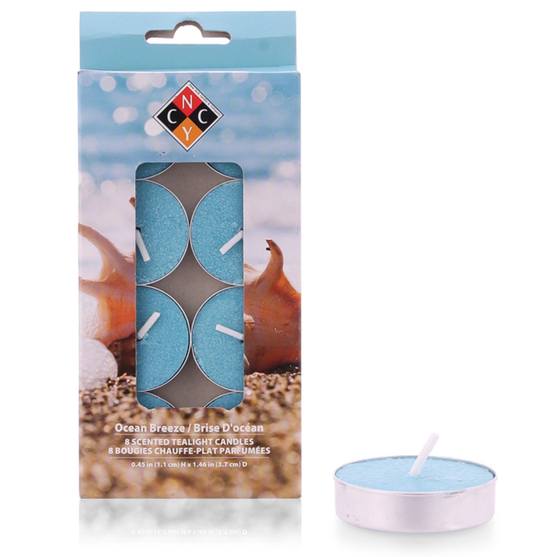 Hộp 8 nến tealight thơm cao cấp hương Ocean Breeze NYCandle FtraMart EDC-NYC08 (Xanh nước biển)
