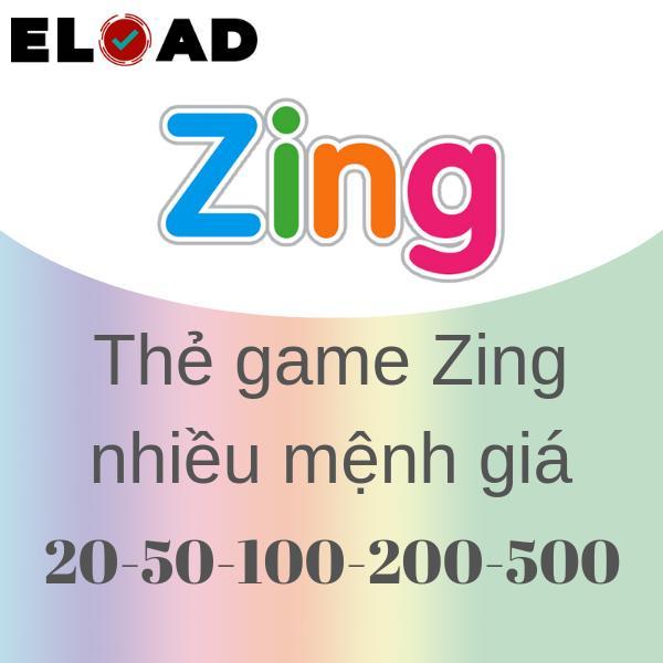 Thẻ Zing 20K-50K-100K-200K-500K - nhận siêu nhanh
