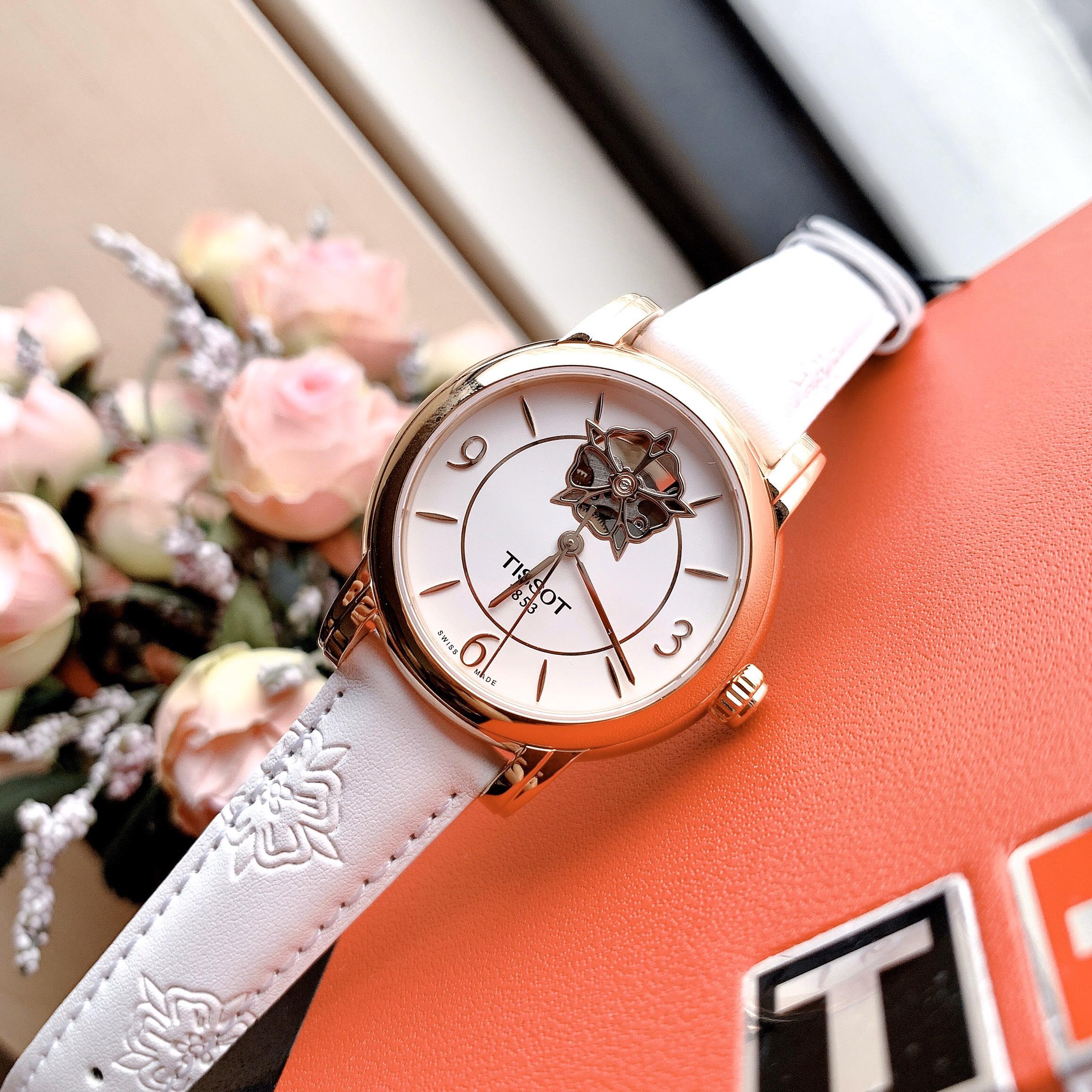 Đồng hồ Nữ Tissot 1853 Open Heart (Hở tim) Automatic T050.207.37.017.04 Mặt trắng-Máy cơ tự động-Dây da trắng cao cấp-Size 35mm