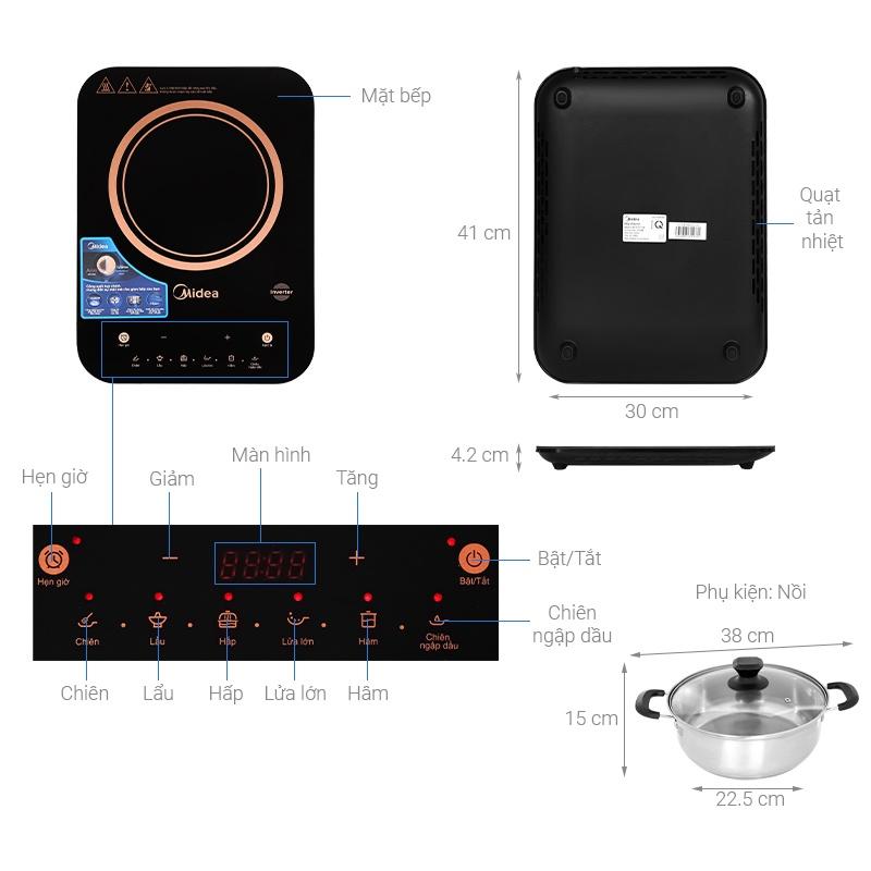 [Chính hãng] Bếp điện từ đơn cảm ứng cao cấp inverter 2100W Midea MI-T2121DB, lỗi 1 đổi 1, bảo hành 12 tháng (Kèm Lẩu)