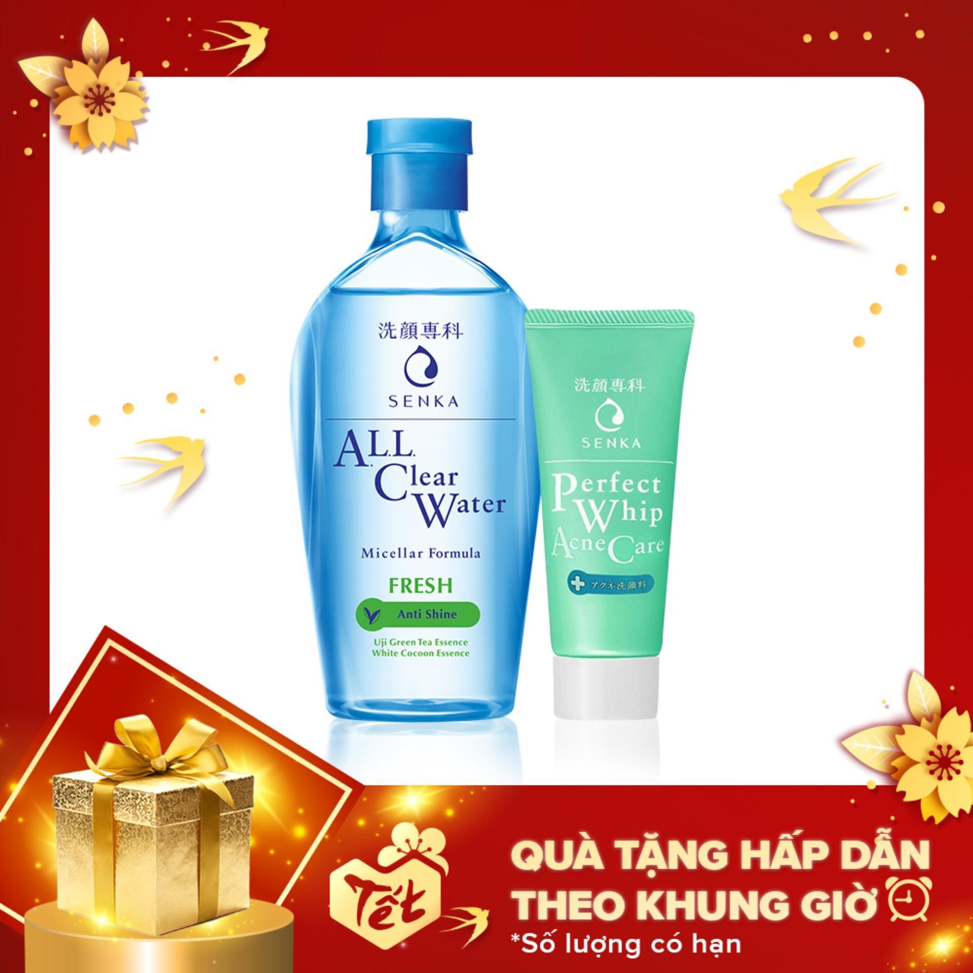 Bộ đôi tẩy trang ngăn ngừa mụn Senka Formula Fresh 230ML + Sữa rửa mặt  Perfect Whip Acne Care 50g
