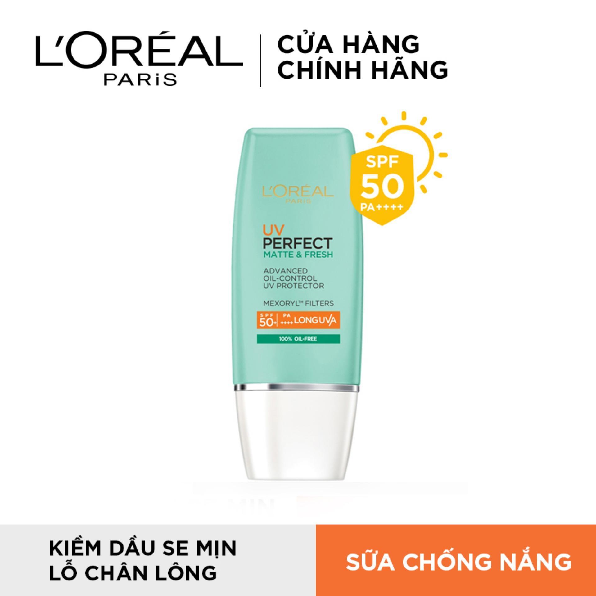 Kem chống nắng bảo vệ toàn diện se mịn lỗ chân lông & chống ô nhiễm LOreal Paris UV Perfect fresh & Matte SPF50/PA++++