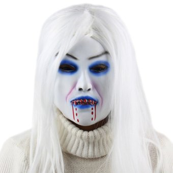 Halloween Party Horror White Witch Ghost Latex Mask Masquerade -intl