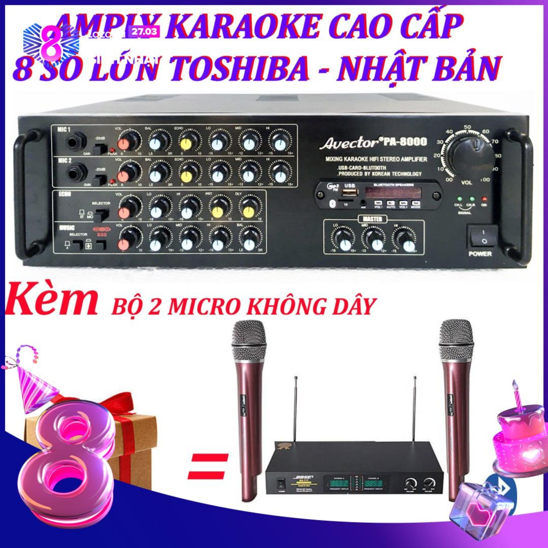 Amply karaoke ampli karaoke amply bluetooth nghe nhạc amply hat karaoke AVECTOR 8000 kèm 2 micro không dây bs777ii