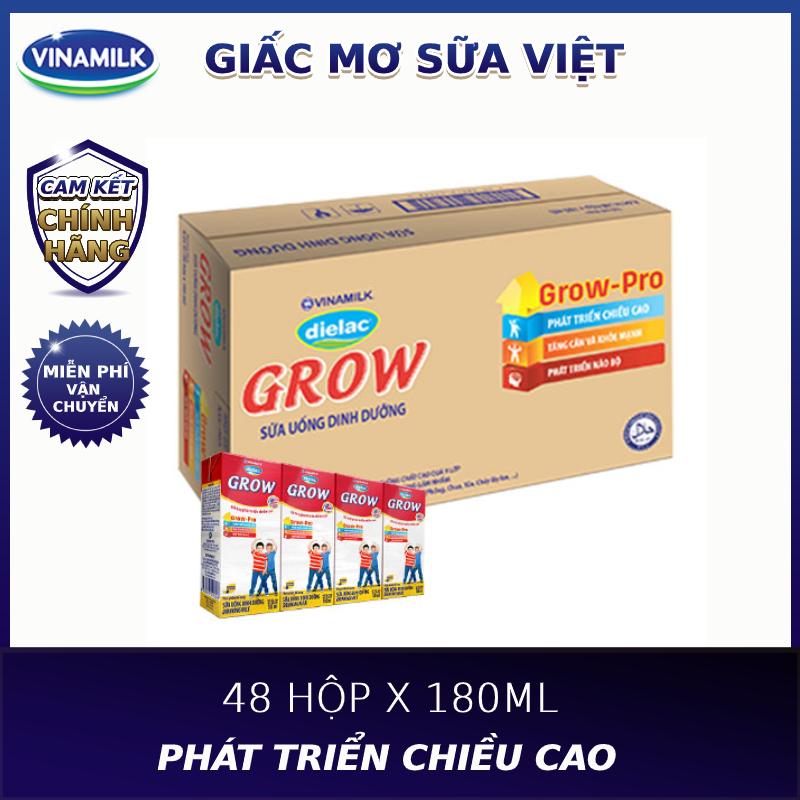 Thùng 48 hộp sữa bột pha sẵn Vinamilk Dielac Grow 180ml-Bổ Sung Dưỡng Chất Thiết Yếu Giúp Bé Phát Triển Chiều Cao Tốt Hơn