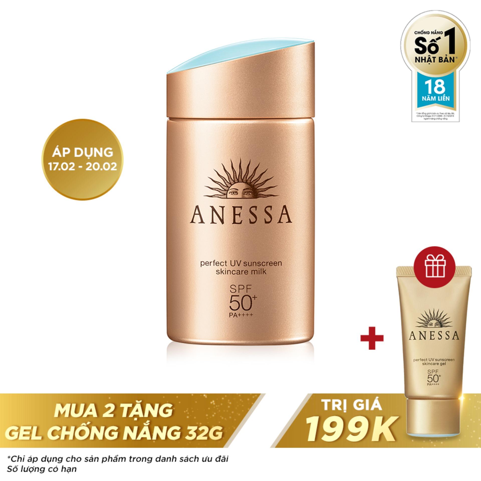 [QUÀ TẶNG 0Đ] Kem chống nắng dưỡng da dạng sữa bảo vệ hoàn hảo Anessa Perfect UV Sunscreen Skincare Milk 60ml