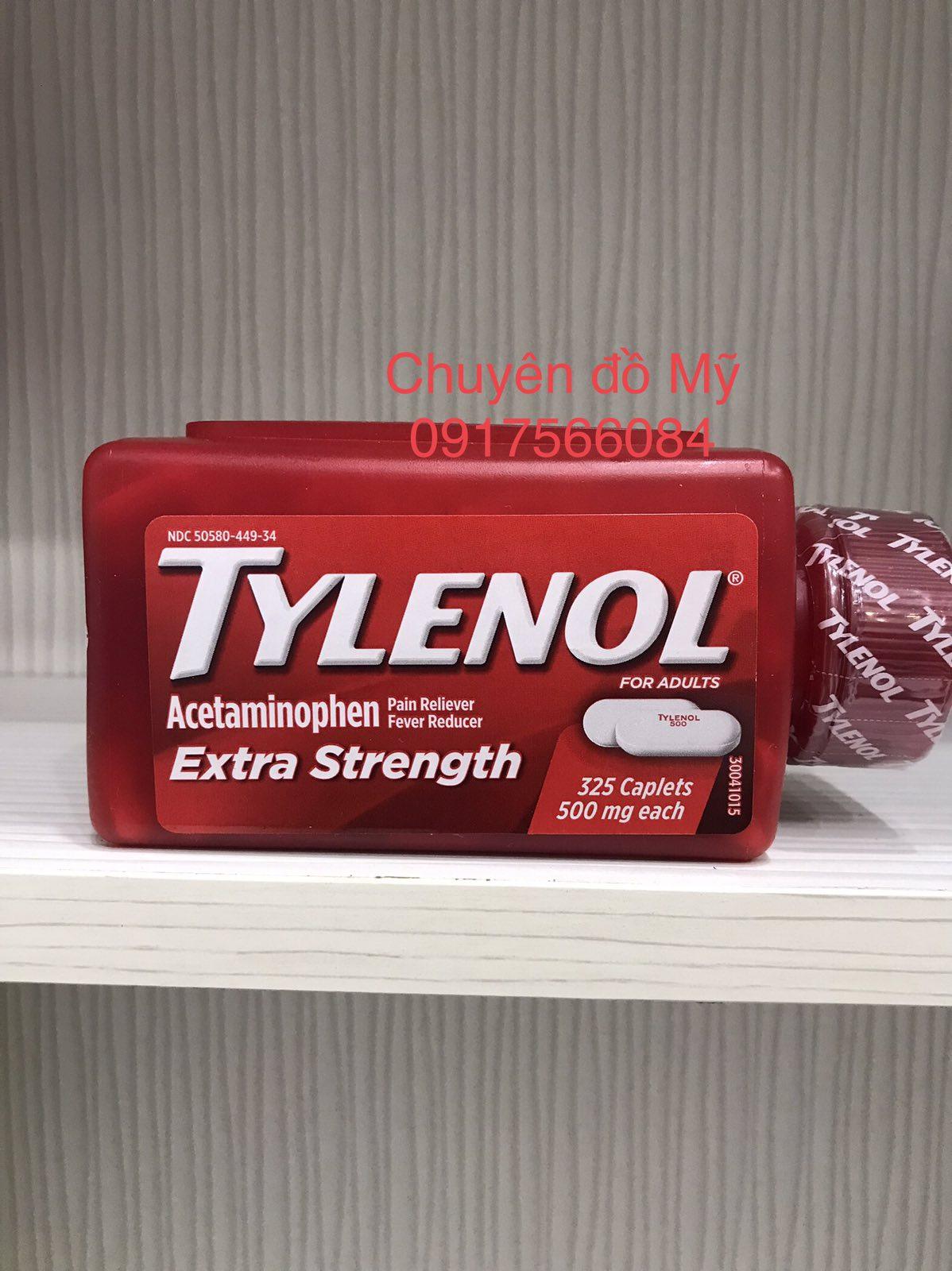 Viên giảm đau hạ sốt_Tylenol_Acetaminophen Extra Strength 500mg 325 viên của Mỹ