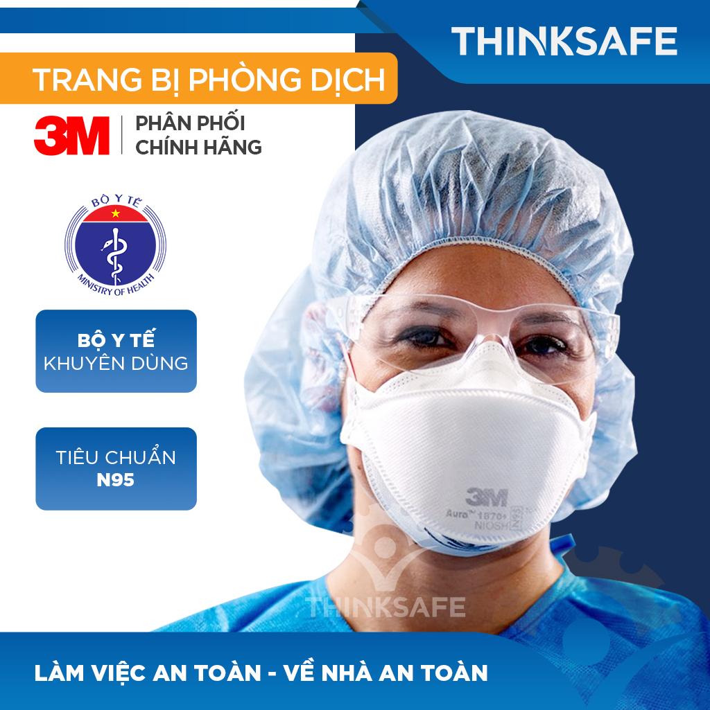 Khẩu trang N95 3M 1870 chuyên dùng cho bác sĩ - 3M 1870 đạt chuẩn FDA - Khẩu trang 3d mask, thiết kế thoải mái khi đeo   đạt chuẩn N95 kháng khuẩn, chống bụi,chống độc, Khẩu trang 3m chính hãng - Thinksafe chính hãng