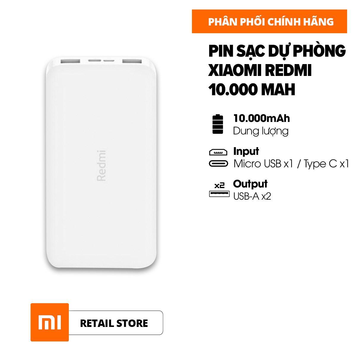 [HÀNG CHÍNH HÃNG] Pin sạc dự phòng Xiaomi Redmi 10.000mAh l Input: Micro USB & Type-C / Output: USB-A x2