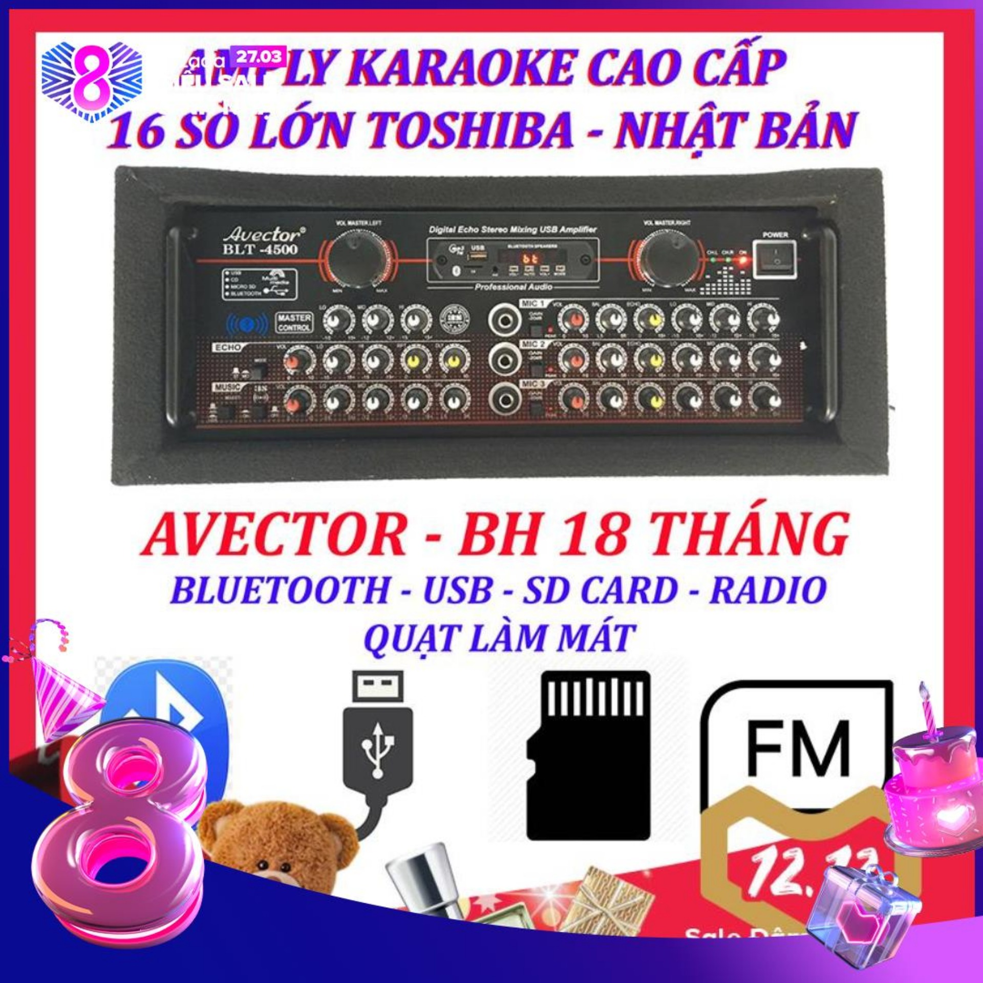 Amply karaoke ampli bluetooth amply nghe nhac amply karaoke hay cao cấp avector 4500