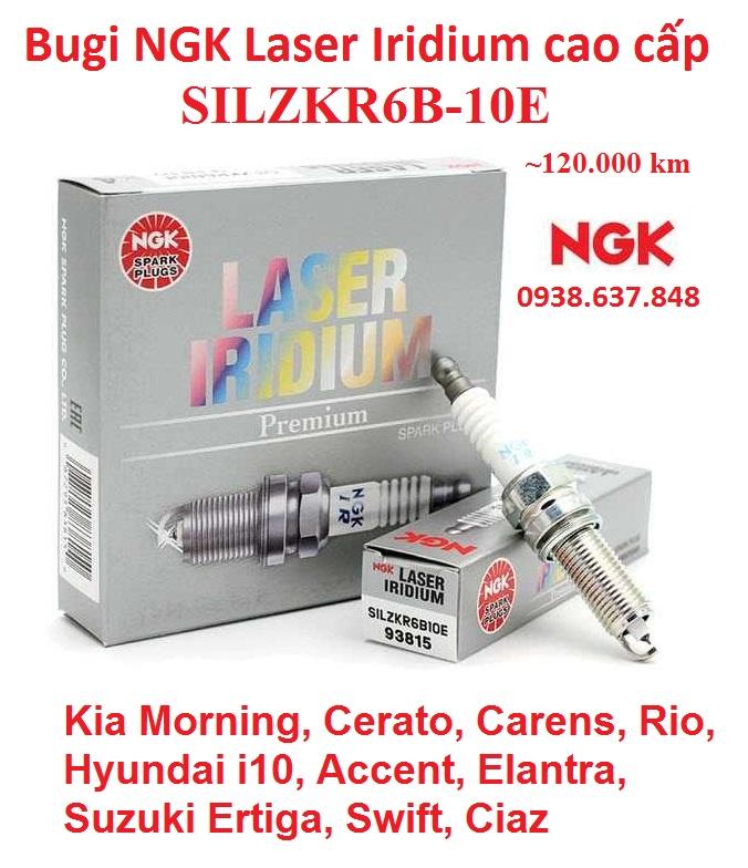 [HCM](mã SILZKR6B-10E) Bugi NGK Laser Iridium cấp cho Morning Cerato Carens Rio i10 Accent Elantra Ertiga Swift Ciaz