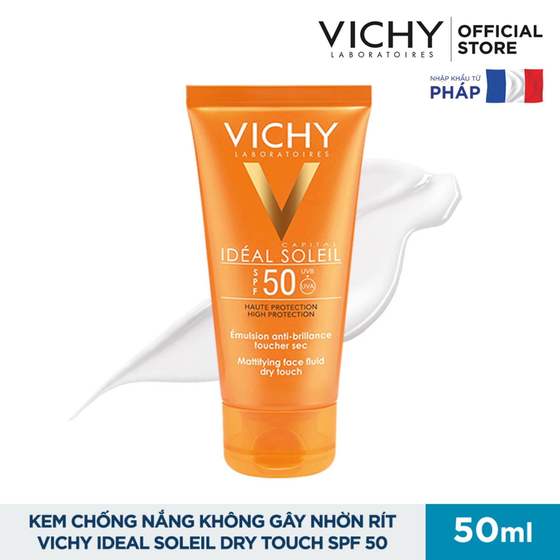 Kem chống nắng không gây nhờn rít Vichy Ideal Soleil Dry Touch SPF 50 Chống Tia UVA + UVB 50ml