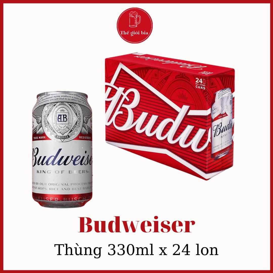Thùng bia Budweiser 330ml x 24 lon  Chính hãng