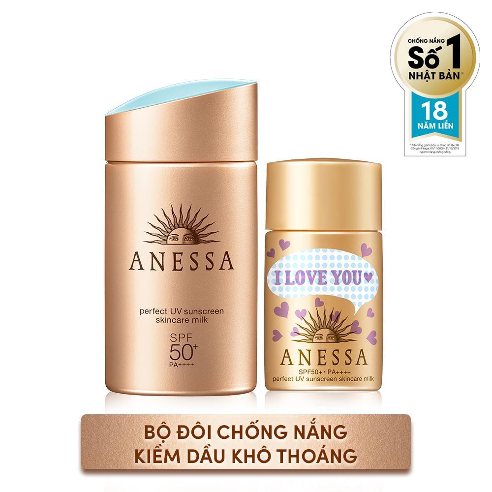 Bộ Đôi Chống nắng kiềm dầu khô thoáng hoàn hảo siêu tiết kiệm Anessa Gold Milk 60ml + Gold Milk 20ml