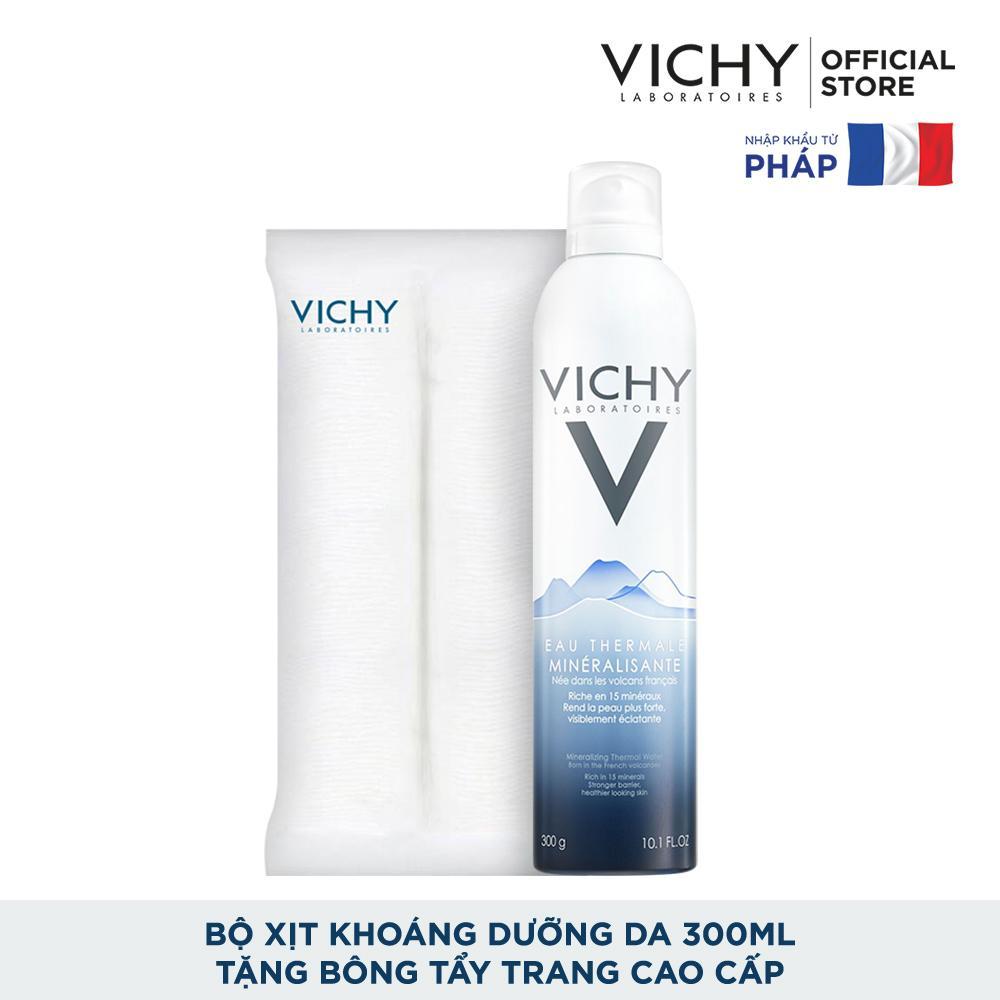 Bộ Xịt khoáng dưỡng da Vichy Mineralizing Thermal Water 300ML và Bông tẩy trang cao cấp