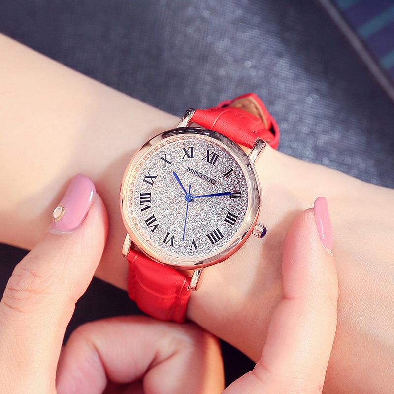 (SIÊU SALE) Đồng hồ nữ Hàn Quốc MINGTUO Đính đá cao cấp – Dây Da cao cấp