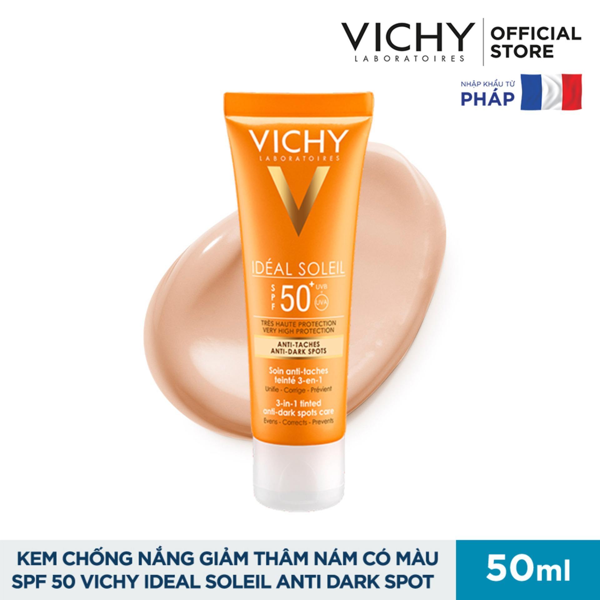 Kem chống nắng ngăn sạm da giảm thâm nám Vichy Ideal Soleil Anti Darkspot SPF 50 Chống Tia UVA + UVB 50ml
