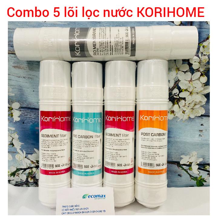 Combo 5 lõi lọc nước korihome  bộ 5 lõi lọc nước korihome  màng lọc nước korihome  bộ lõi 1 2 3 korihome  lõi lọc nước korihome