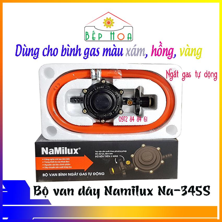 Bộ van dây gas ngắt gas tự động Namilux NA-345S-VN + 1.4m dây ga + 2 cổ dê inox - 345S - Van Namilux - Van dùng bình xám - Van gas - An toàn - Bếp Hoa