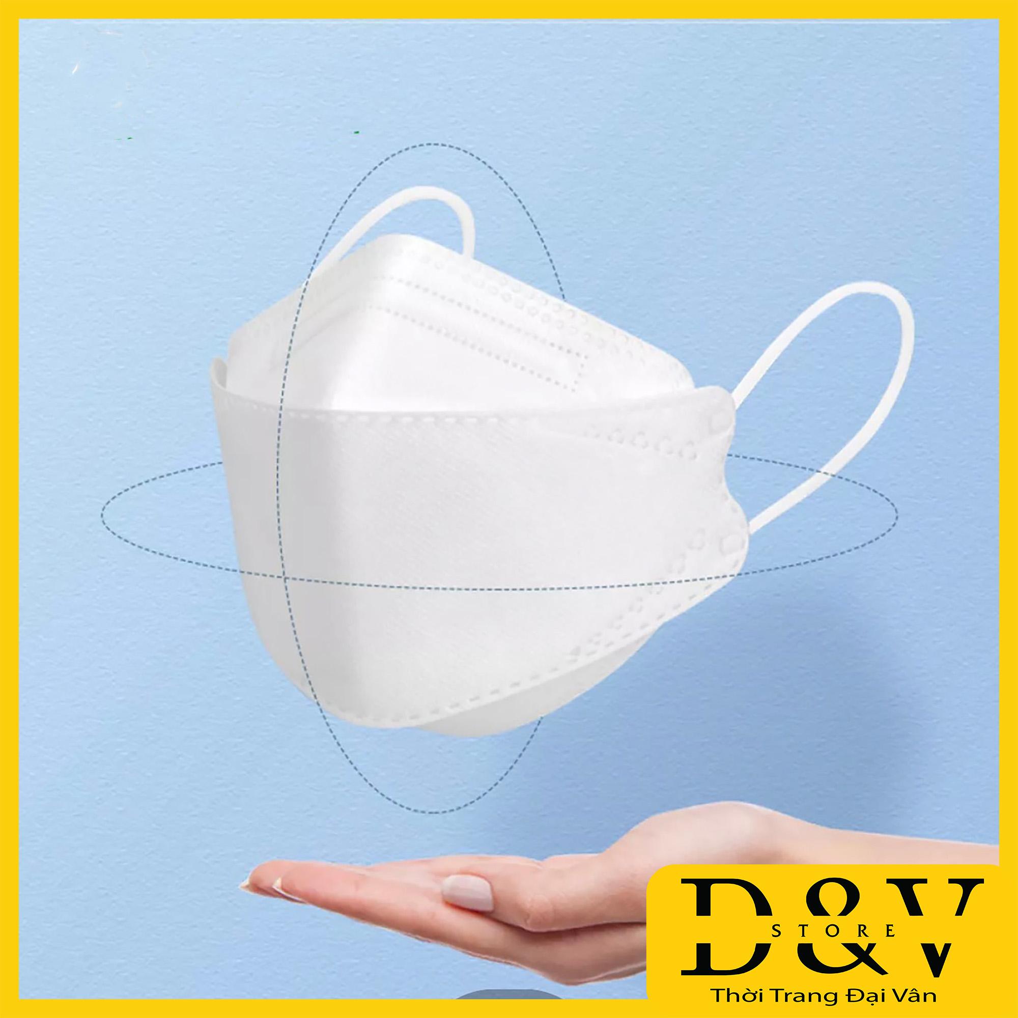 [1 gói 5 chiếc] Khẩu trang y tế 4D Mask KF94 Màu Trắng kiểu Hàn Quốc  4 lớp kháng khuẩn, kháng bụi mịn lên đến 95%, đạt tiêu chuẩn ISO khẩu trang y tế, khẩu trang 3d mask, khẩu trang 3d land mask