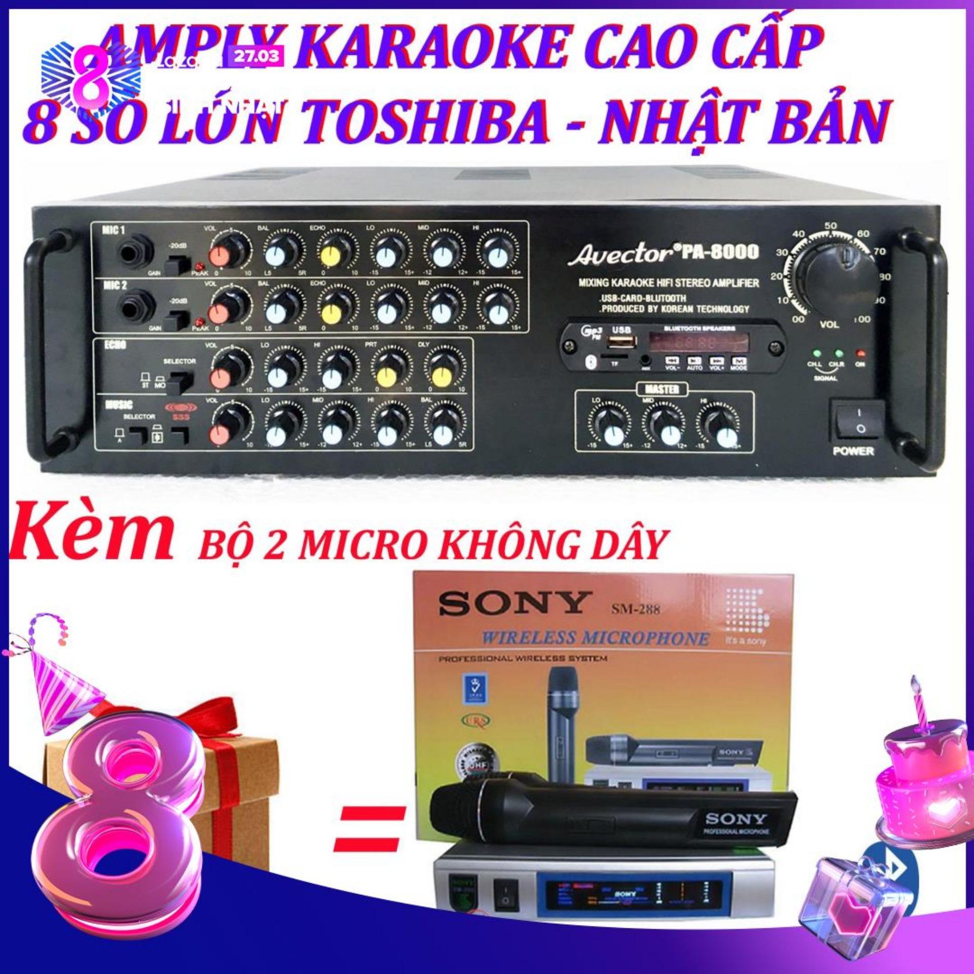 Amply karaoke ampli karaoke amply bluetooth nghe nhạc amply hat karaoke AVECTOR 8000 kèm 2 micro không dây sm288