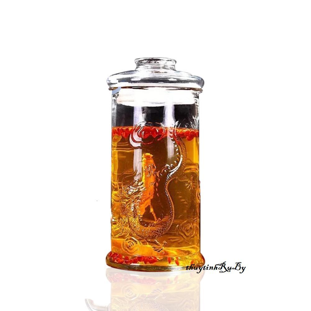 Bình Ngâm Rượu Thủy Tinh 6 Lít (Không Vòi, Không Đế) Trụ Rồng, Bình Đựng Rượu Thủy Tinh, Hủ thủy tinh ngâm rượu, Bình ngâm Sâm