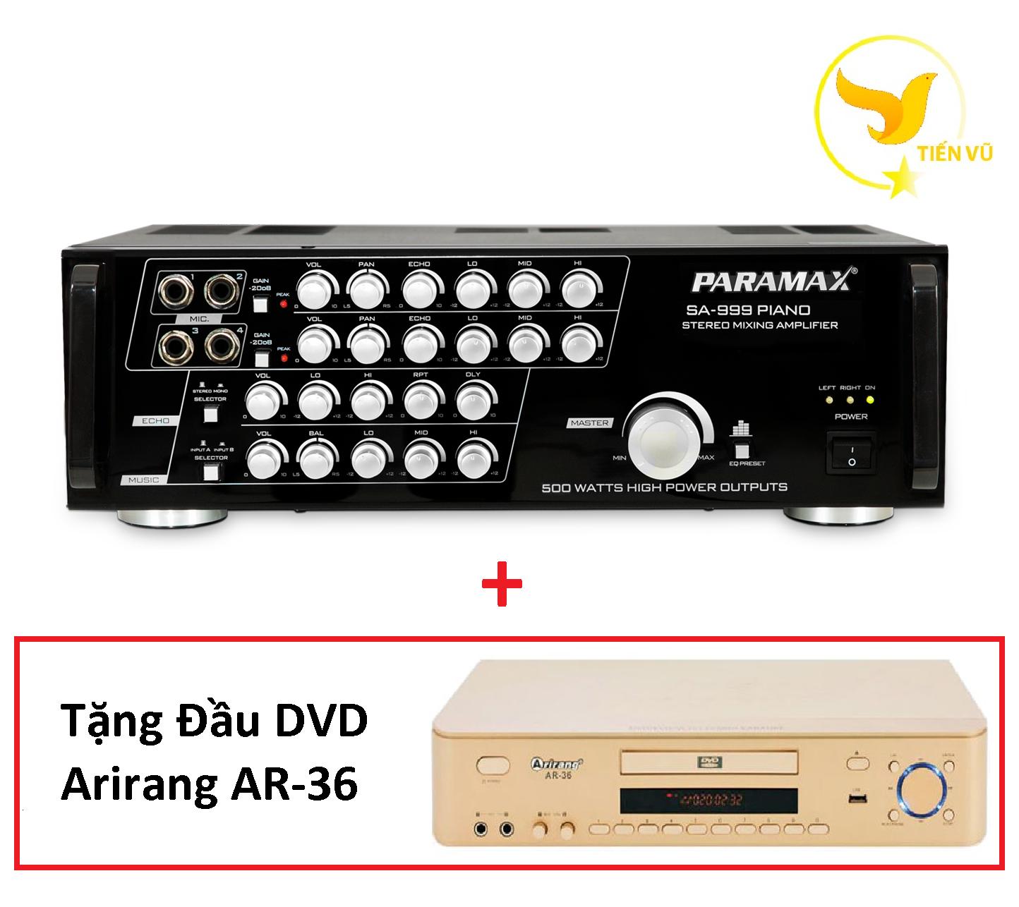 [HCM][Trả góp 0%]Amply PARAMAX SA-999 PIANO NEW + Tặng Đầu DVD Arirang AR-36