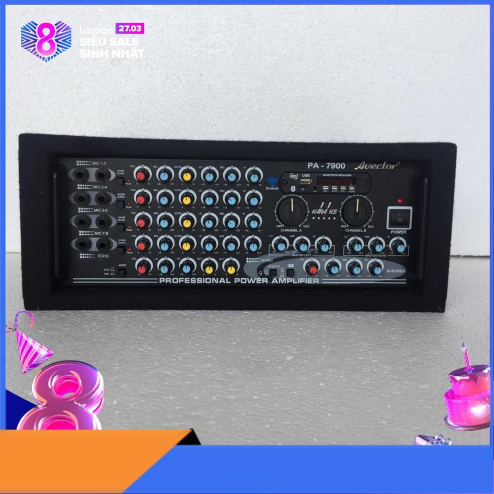 Amply karaoke bluetooth - amply karaoke gia đình Avector 7900 bluetooth - fm - usb - thẻ nhớ hát karaoke cực hay