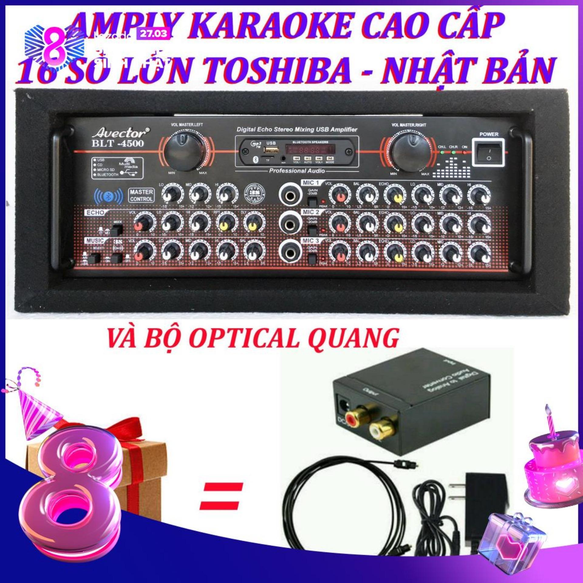 Amply karaoke ampli bluetooth amply nghe nhac amply karaoke hay cao cấp avector 4500 VÀ bộ optical quang