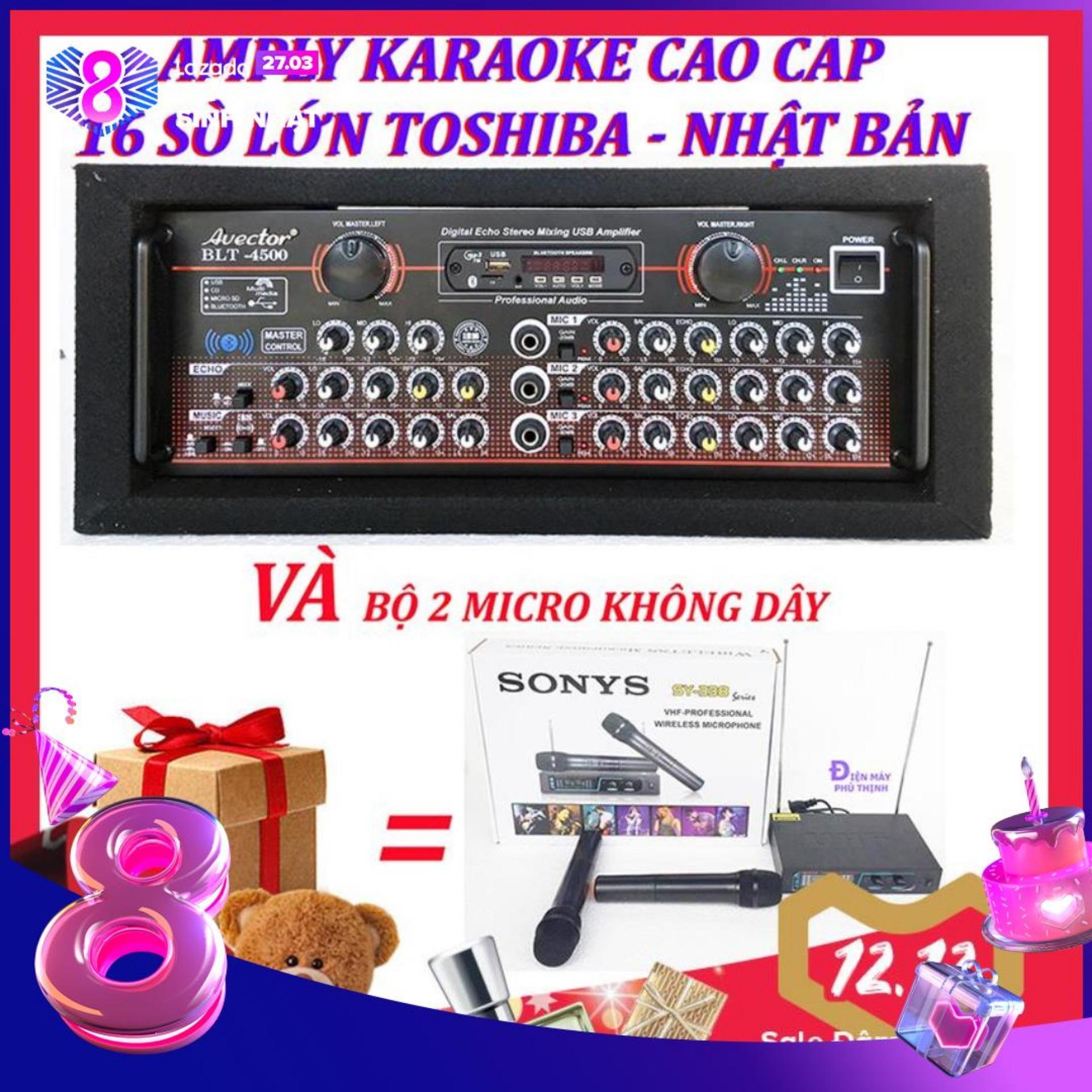 Amply karaoke ampli bluetooth amply nghe nhac amply karaoke hay cao cấp avector 4500 VÀ bộ micro không dây sy338